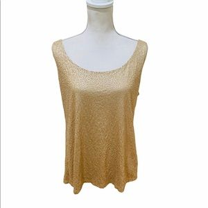 Talbots champagne sequin covered sleeveless top